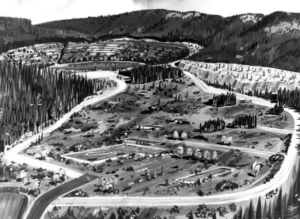 An artists conception of how the mine would look after the mine was worked out. It was planned to have the pit used for public recreation.